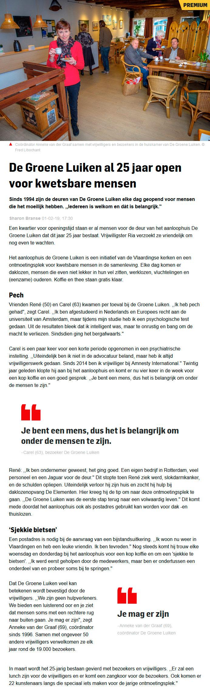 Artikel in Algemeen Dagblad - 1 februari 2019: De Groene Luiken al 25 jaar open voor kwetsbare mensen.